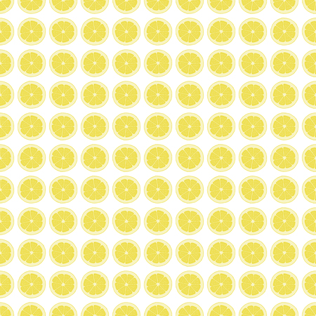 A Seamless pattern background with a slice of lemon. Citrus vector illustration.