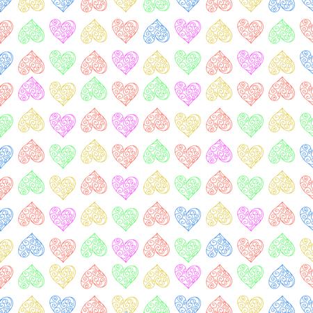Naadloze patroonachtergrond met kanthart. Het herhalen. Multi-gekleurde vectorillustratie. Stock Illustratie
