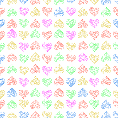 Seamless pattern background with lace heart. Repeating. Multi-colored vector illustration.