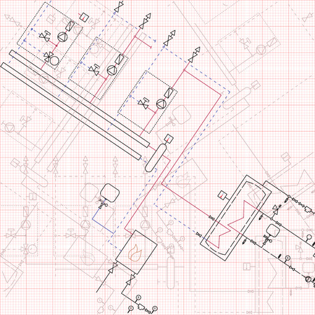 axial: 2d technical drawing gas boiler house. Vector illustration graph paper blueprint. Illustration