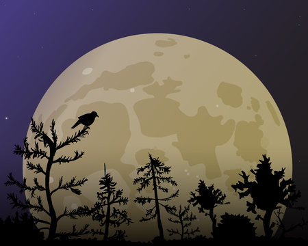 The forest on the background of the big yellow moon. Dark blue night sky and bird vector illustration.