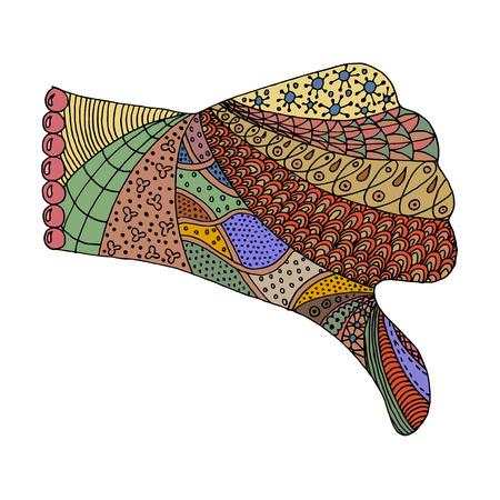 Hand zen tangle. Arm zenart vector illustration. Fist,Thumb down coloring book for adult. Unlike