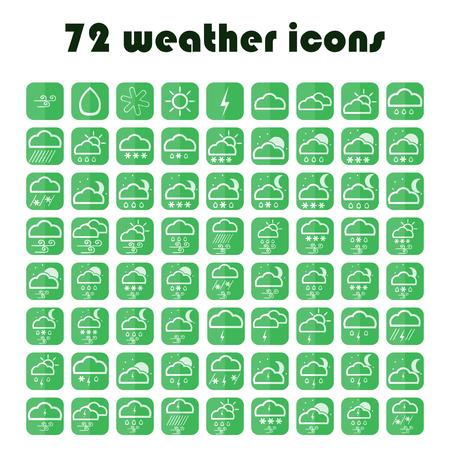 rainy season: Set of website meteorology signs. 49 weather icons set. Vector green symbols. Illustration