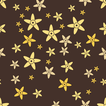 Brown seamless pattern background with yellow vanilla. Aroma flower vector illustration.
