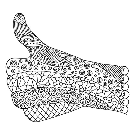 ink well: Hand zen tangle. Doodle arm vector illustration. Thumb up coloring book for adult. Like