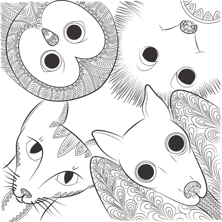 owl illustration: Doodle bat, cat, owl and hedgehog head vector illustration. Night animals Zen Tangle. Wild nature colouring book.