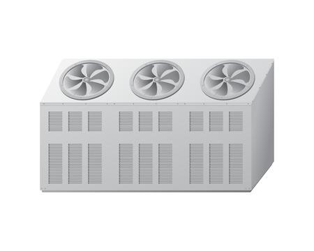 冷凍機の室外機。冷凍技術プロセスの装置。ベクトルの図。  イラスト・ベクター素材