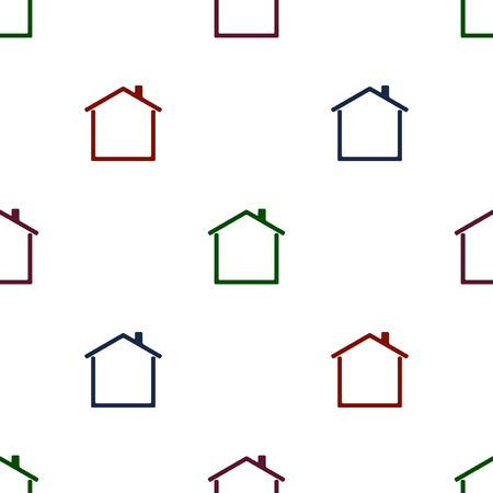 Abstract house. Seamless pattern background in building icon.