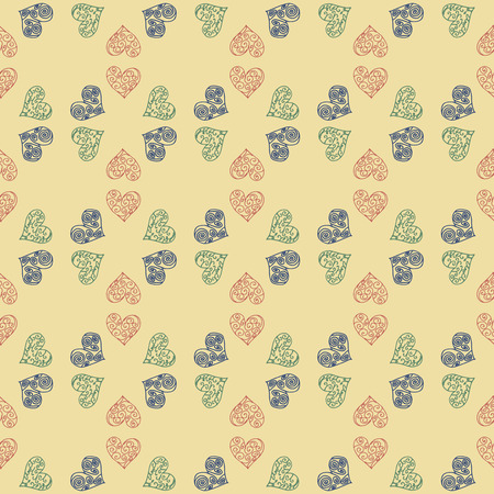 Naadloze patroonachtergrond met hart. Romantische behang vectorillustratie. Stock Illustratie