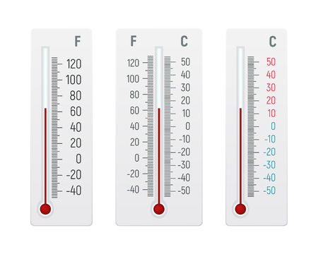 Set of alcohol thermometer vector illustration. Temperature measurement in degrees Celsius and Fahrenheit. Çizim