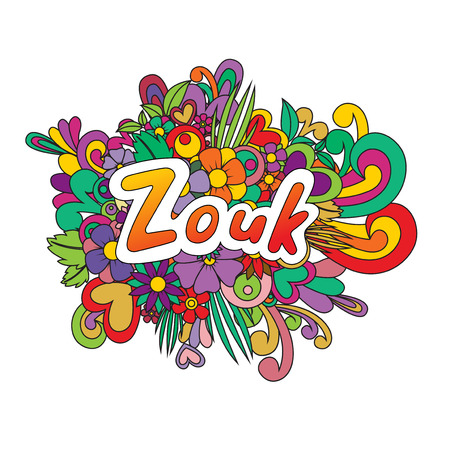 Zouk Zen Tangle. Doodle pattern with flowers and text for the partner dancing. Vector illustration.