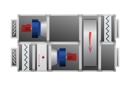 System wentylacyjny z ilustracji wektorowych koła termicznego. Obraz techniczny.