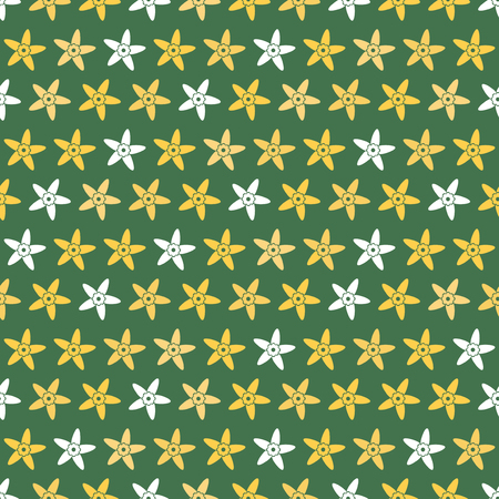 Seamless pattern background flowers in vanilla. Vector illustration. Green wallpaper.