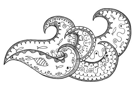 Wawe Zen Enredos Y Doodle Ilustración Vectorial. Océano, Mar Zenart ...