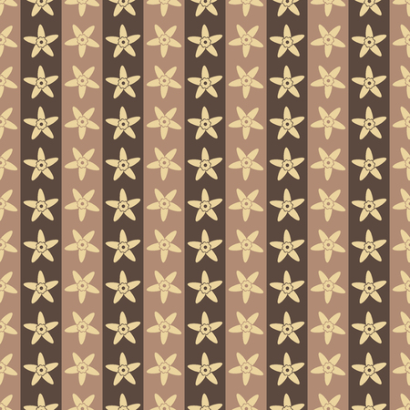 Seamless pattern background flowers in vanilla. Vector illustration. Brown wallpaper.