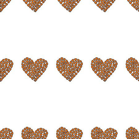 Seamless pattern background with animal heart. Vector illustration. Giraffe print skin.