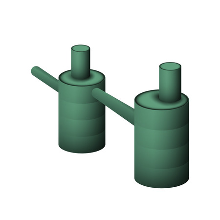 Two green septic tank vector illustration. The system of Sewerage and drainage for the cottage on a white background.