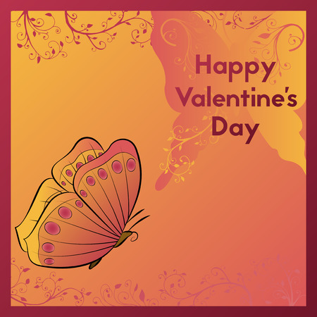 Happy Valentine's Day. Greeting card in orange tones with the image of a butterfly. Postcard vector illustration. Stok Fotoğraf - 86154819