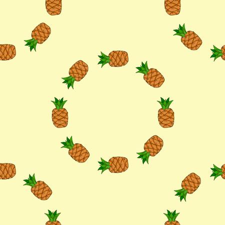 Seamless pattern background with pineapple. Fruit vector illustration. Illustration