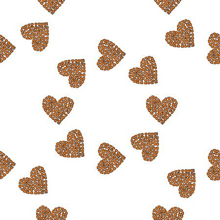 Seamless pattern background with heart shape. Giraffe skin. Illustration