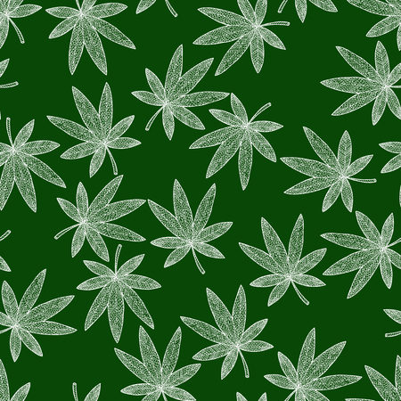 Seamless pattern background marijuana. Tangle pattern and zen doodle hashish. Wallpaper green and white leafs. Vector illustration. Illustration
