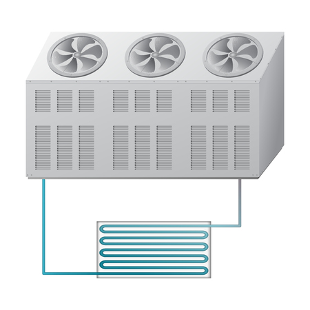 屋外と室内機の冷凍機。冷・温の温度。エアコン システムのベクトル図です。