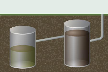 Underground septic tank vector illustration. Sewage system. Bio toilet.