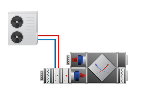 Air handler with heating, cooling unit, recuperator and conditioner vector illustration. Technical image. Vettoriali