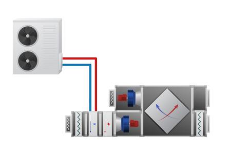 Controlador de aire con calefacción, unidad de refrigeración, recuperador y acondicionador de ilustración vectorial. Imagen técnica.