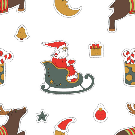 Christmas seamless pattern background. Santa Claus in a sleigh, reindeer and gifts vector illustration. A cute holiday Wallpaper.