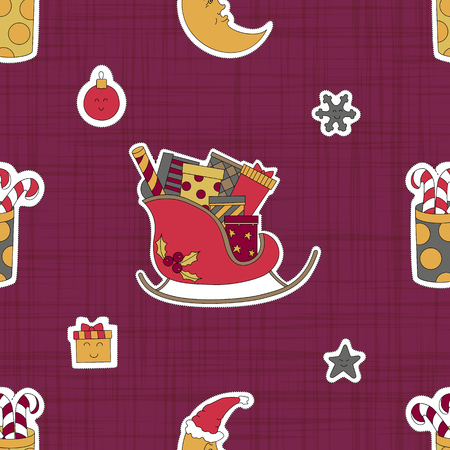 Gifts for children at Christmas from Santa Claus. Pink seamless pattern background. Magic vector illustration. Illustration
