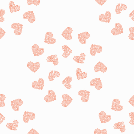 Seamless pattern in the background with pink heart. Greek wallpaper vector illustration.