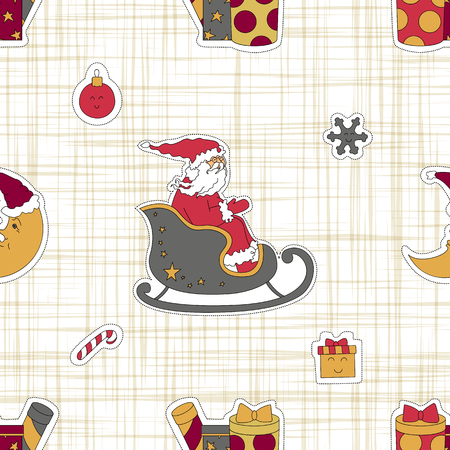 Santa Claus in the sleigh. Seamless pattern background. The texture of the fabric. Moon and gifts vector illustration. Illustration