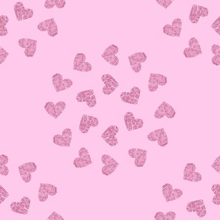 Naadloze patroon achtergrond met hart. Griekse roze behang vector illustratie. Stock Illustratie