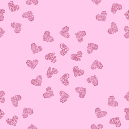 Seamless pattern background with heart. Greek pink wallpaper vector illustration.