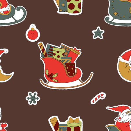 Santa Claus in sleigh with presents. Gift seamless pattern background. Brown hues. Vector illustration.