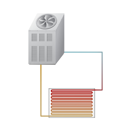condenser: The outdoor unit of the chiller. The evaporator and condenser.