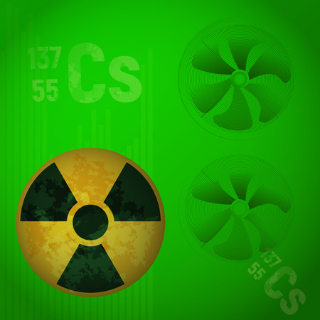 radioactive warning symbol: Radioactive Alert danger vector illustration. The element cesium 137 on a green background. Chemical industry. Illustration