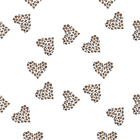 Huid met luipaardprint. Naadloze patroonachtergrond met wilde dierlijke harten.