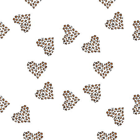 Leopard print skin. Seamless pattern background with wild animal hearts.