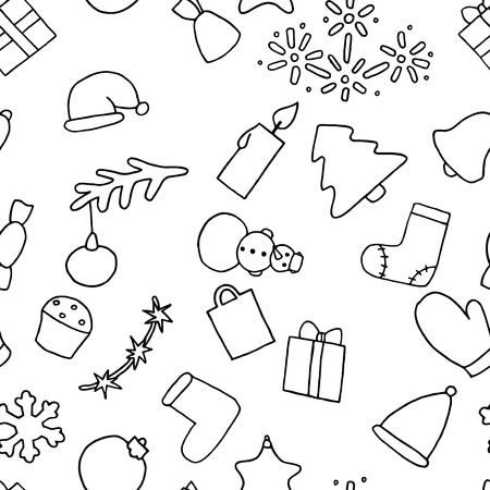 New Year Seamless Pattern Background Christmas Wallpaper Coloring Book Fir Tree