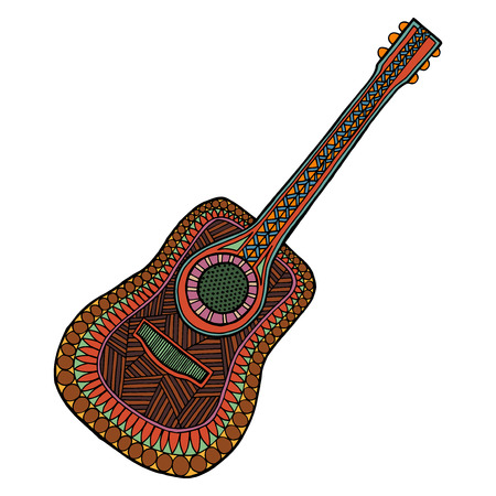 Guitar tangle pattern vector illustration. Musical instrument. Isolated image of coloring book for adult. Bass tattoo