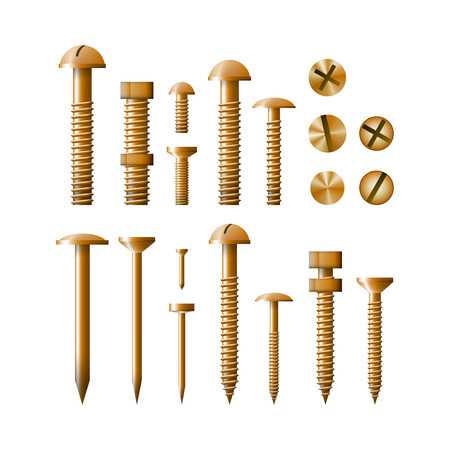 clincher: Set of fasteners Golden color vector illustration. A collection of tools. Screw, bolt, nut and nail.