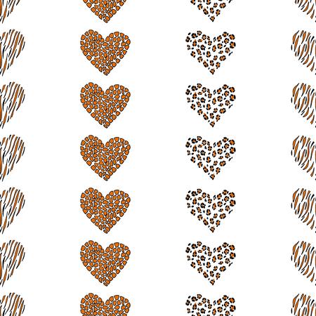 Naadloos patroon dierlijk hart als achtergrond. Vector illustratie: luipaard, giraf, tijger. Stock Illustratie