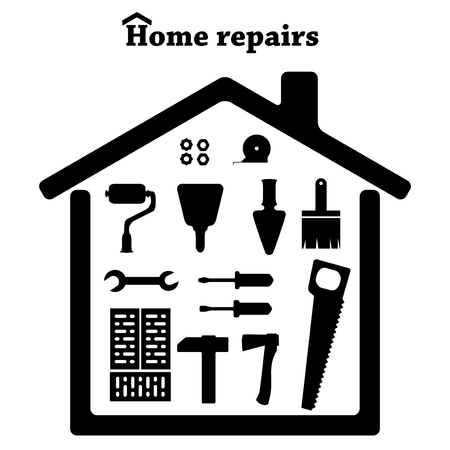 Home repairs. Icon set of tools. Build vector.