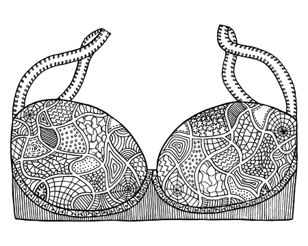 Brassiere vector, bra tangle pattern. Coloring book