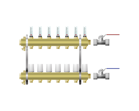 Manifold for heating with vents vector illustration. A warm floor.