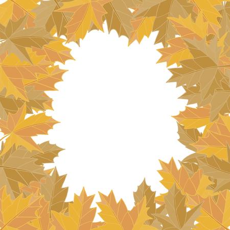 秋のステッカー スタイル。黄色い落ち葉ベクトル。グリーティング カード。テキストのためのスペース。フォト アルバム。  イラスト・ベクター素材
