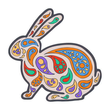 Tangle pattern animal. Coloring book wildlife. Rabbit vector illustration.