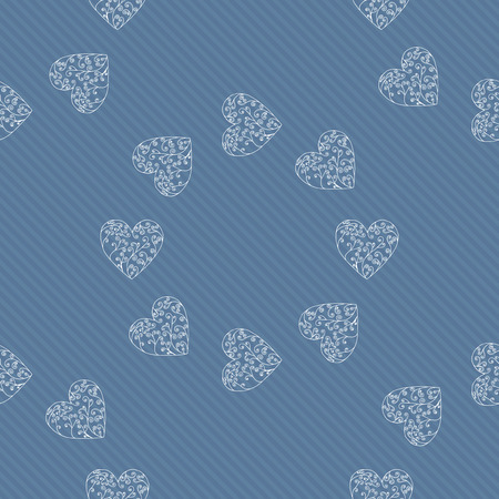 Vector love. Seamless pattern of hearts background. Lace illustration. Romantic wallpaper.